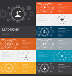 Leadership infographic 10 line icons banners vector