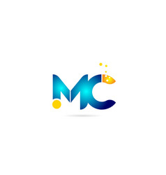 Letter combination mc m c orange blue alphabet vector