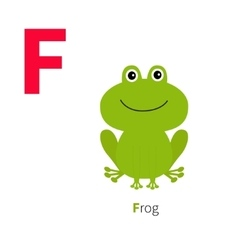 Letter F Frog Zoo alphabet English abc with vector image