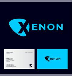 Letter x into spot light car emblem inert gas vector