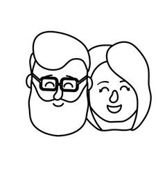 line avatar couple head with hairstyle design vector image