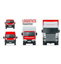Logistics transport front view truck trailer vector