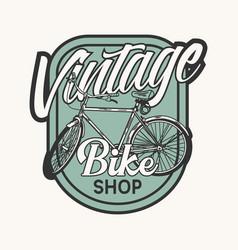Logo design vintage bike shop with bicycle vintage vector
