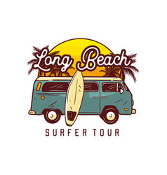 long beach surfer tour surfing t shirt design vector image