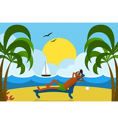 Lounging Man on Beach vector image