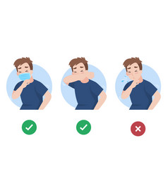 Man use elbow cover mouth before sneeze vector