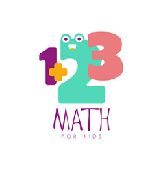 Math for kids logo symbol colorful hand drawn vector