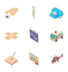 medical evacuation icons set isometric style vector image