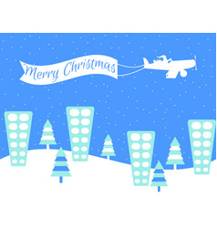 merry christmas santa claus is flying on a plane vector image