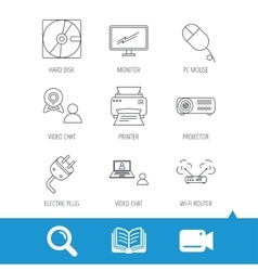 Monitor printer and wi-fi router icons vector image