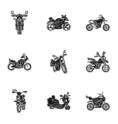 Motorbike icon set simple style vector