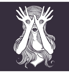 Mysterious monster girl with eyes on the hands vector