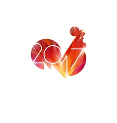 New Year design with silhouette of fire rooster vector image