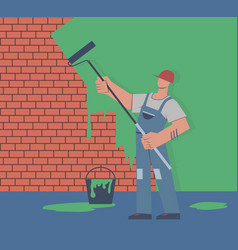painter colors wall repair in apartment man vector image