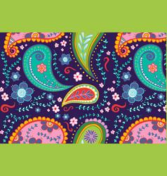 Paisley pattern background colorful mandala vector