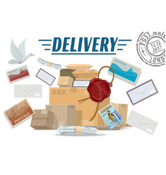 parcels letters and post packages mail delivery vector image