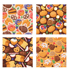 pastry seamless pattern baked cake cream cupcake vector image