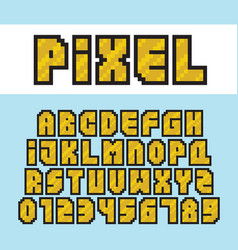 Pixel art style golden alphabet and numbers vector
