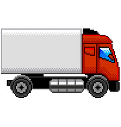 Pixel truck profile detailed isolated vector