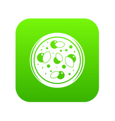 pizza with greens icon digital green vector image