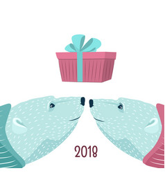 polar bears couple blue purple new year present vector image