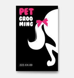 poster template of grooming service pet with vector image