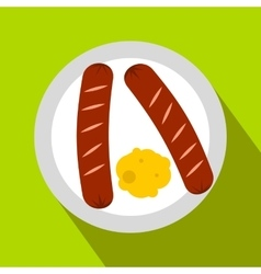 Sausages on a plate flat icon vector