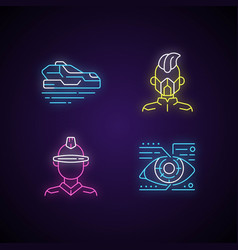 sci fi and cyberpunk neon light icons set vector image