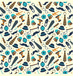 Seamless pattern of fathers day flat set icons on vector