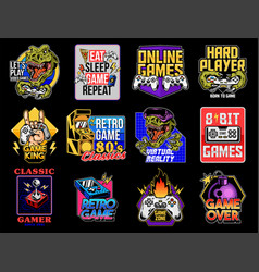 set collection video game geek prints vector image