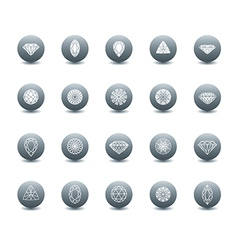 Set diamond new icons 3 vector