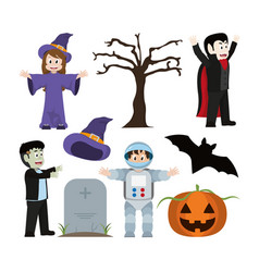 Set halloween costumes and decoration tradition vector