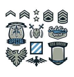 Set military and military badges emblems vector