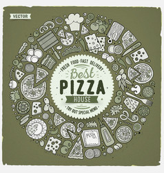 set of dpizza cartoon doodle objects symbols vector image