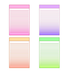 set of multi-colored page templates for notepad vector image vector image