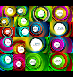 set of swirl abstract backgrounds vector image