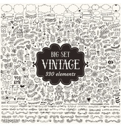Set of vintage sketch elements vector image