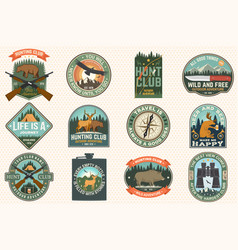 Set outdoor adventure quotes and hunting club vector