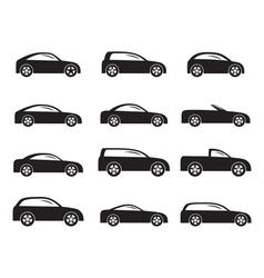 Silhouette different types of cars icons vector