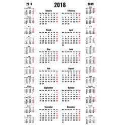 simple vertical calendars for 2018 and 2017 2019 vector image