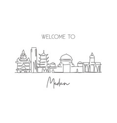 Single continuous line drawing medan city vector