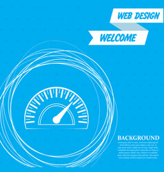 speedometer icon on a blue background with vector image