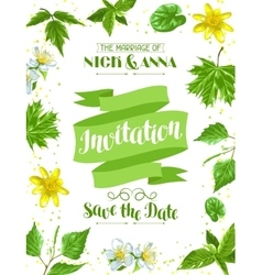 Spring green leaves and flowers wedding vector