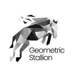 stallion horse geometric polygonal logo icon vector image