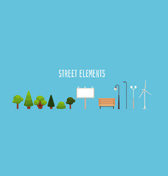 street elements - isolated city park decoration vector image