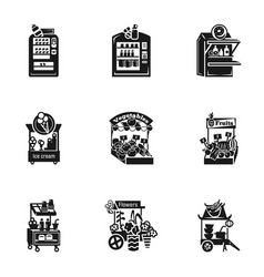 Street shop icon set simple style vector