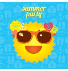 Summer funny smiling sun in sunglasses for beach vector image