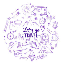 template with hand drawn travel hiking and vector image