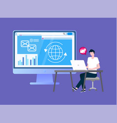 Transactions security service operator with laptop vector