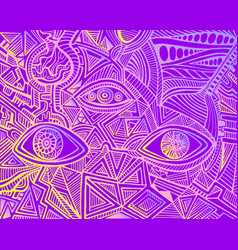 Vintage psychedelic hypnotic shamanic acidic eyes vector